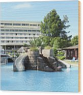 Resort With Swimming Pool Summer Vacation Scene Wood Print