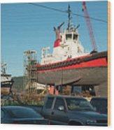 Response In Anacortes Drydock Wood Print