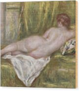 Rest After The Bath Wood Print by Pierre Auguste Renoir