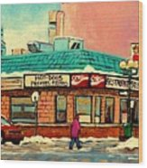 Restaurant Greenspot Deli Hotdogs Wood Print