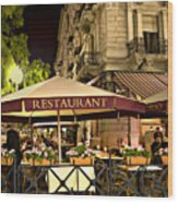 Restaurant In Budapest Wood Print by Madeline Ellis