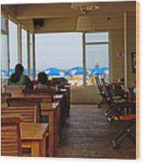 Restaurant On A Beach In Tel Aviv Israel Wood Print by Zalman Latzkovich