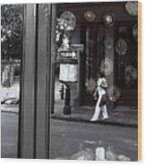 Restaurant Window Wood Print