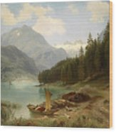 Resting By The Mountain Lake Wood Print