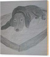 Resting Dog Wood Print