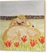 Resting In The Tulips Wood Print