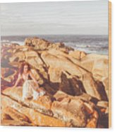 Resting On A Cliff Near The Ocean Wood Print