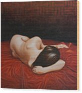 Resting On A Red Cloth Wood Print