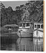 Resting Shrimp Boats Wood Print