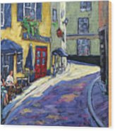 Resto Le Cochon Dingue  In Old Quebec Wood Print