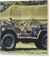 Restored Willys Jeep And Tent At Fort Miles Wood Print