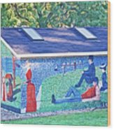 Restroom In Park On River Waterfront In Saugatuck, Michigan Wood Print
