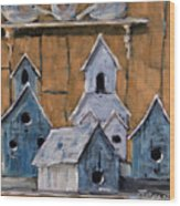 Retired Bird Houses By Prankearts Fine Arts Wood Print