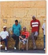 Retired Men And Yellow Wall Cartegena Wood Print