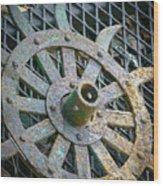 Retired Plow Wheel Wood Print