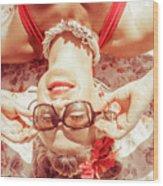Retro 50s Beach Pinup Girl Wood Print