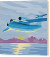 Retro Airliner Flying  Wood Print