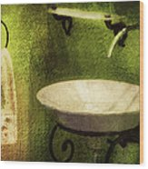 Retro Bathroom Grunge Wood Print