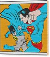 Retro Batman V Superman Wood Print