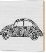 Retro Beetle Car 2 Wood Print