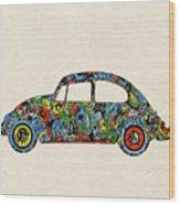 Retro Beetle Car 3 Wood Print