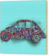 Retro Beetle Car 5 Wood Print