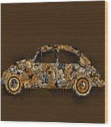 Retro Beetle Car 6 Wood Print