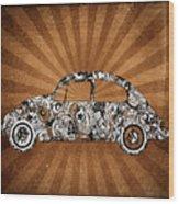 Retro Beetle Car Wood Print