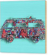 Retro Camper Van 3 Wood Print