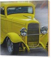 Retro Car In Yellow Wood Print