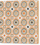 Retro Circles Pattern Wood Print