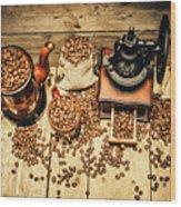 Retro Coffee Bean Mill Wood Print