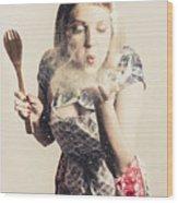 Retro Cooking Woman Giving Recipe Kiss Wood Print