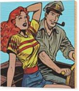Retro Couple On Boat Comic Style Wood Print