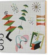Retro Mid Century Modern Atomic Inspired Wood Print