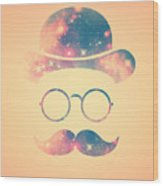 Retro Face With Moustache And Glasses  Universe  Galaxy Hipster In Gold Wood Print
