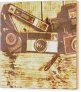Retro Film Cameras Wood Print