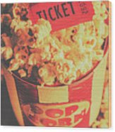 Retro Film Stub And Movie Popcorn Wood Print
