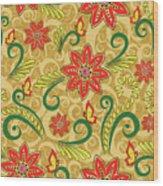 Retro Floral Seamless Pattern Wood Print