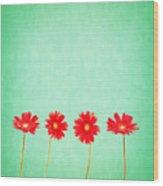 Retro Flowers Wood Print