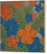 Retro Flowers Wood Print