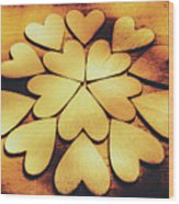 Retro Heart Connection Wood Print