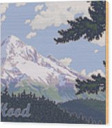 Retro Mount Hood Wood Print by Mitch Frey