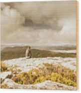 Retro Mountaintop Views Wood Print