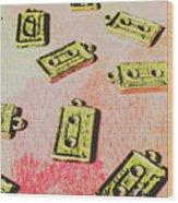 Retro Music Tapes Wood Print