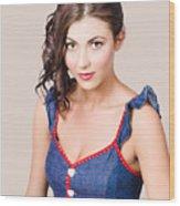 Retro Pin-up Girl In Blue Denim Dress Wood Print