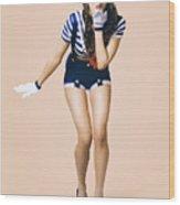 Retro Pinup Girl Blowing Travelling Departure Kiss Wood Print