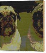 Retro Pugs Wood Print