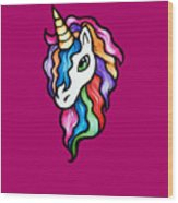 Retro Rainbow Unicorn Wood Print