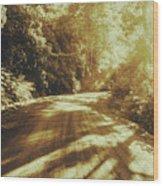 Retro Rainforest Road Wood Print